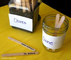 Chore Sticks in a Jar. My kids actually like this method, I added in some fun things too, like a 20 minute recess, 5 minutes of reading, ect.