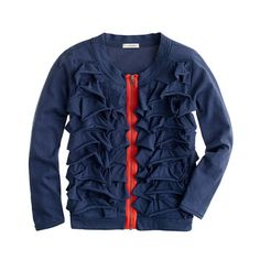 Girls' neon zip ruffle cardigan | J.CREW Kids