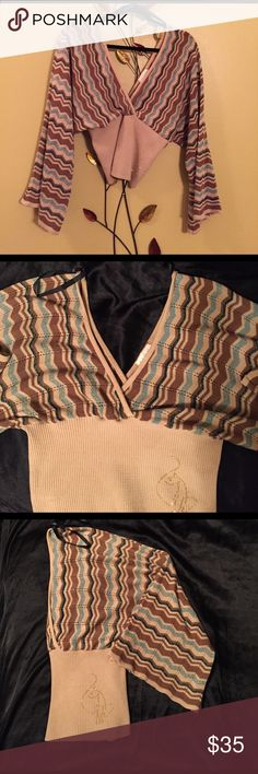 BABY PHAT Authentic V-neck ribbed top BABY PHAT Authentic V-neck bell arm ribbed fitted waist top.  Beautiful multicolor chevron design with gold threading highlighting the green colors.  Gold studded Baby Phat Cat on front left of ribbed portion of top.  Excellent condition. Baby Phat Tops
