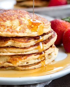Fluffy Paleo Buttermilk Pancakes come together quickly and are a hit with family. Grain free, nut free, dairy free & freezable, great for breakfast or brunch. Need coconut & tapioca flour, coconut milk Super Healthy Recipes, Healthy Foods To Eat, Clean Eating Recipes, Paleo Recipes, Real Food Recipes, Disney Recipes, Healthy Breakfasts, Disney Food, Gourmet