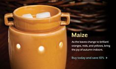 Maize warmer. Love this color! Fill with autumn scents like pumpkin marshmallow. Winning combination.