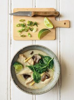 Thai Coconut Chicken Soup | If you love to order tom kha gai at Thai restaurants, this recipe is for you. Here, we use a slow cooker to put together a great version of this iconic chicken-coconut soup that's packed with flavor. Leftovers are great for lunch the next day.