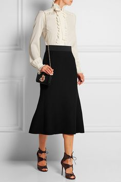 2 Perfect Wear to Work Outfits: Culottes and Midi Skirt by PeopleandStyles.com…