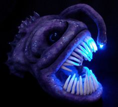 Needle Felted Light Up Angler Fish Sculpture