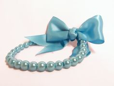 Designer Dog Collar - Turquoise Pearl Dog Necklace and satin bow - Dog bling, pearl dog collar on Etsy, $33.00
