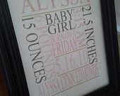 Personalized Baby Boy Wall Decor/Birth Announcment. $10.00, via Etsy.
