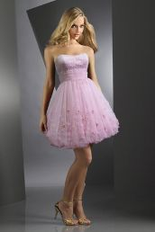 Empire Strapless Bubble Skirt Cocktail Gown Cheap Party Dresses