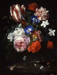Nicolaes van Verendael (1640-1691) — A Vase of Flowers : The Fitzwilliam Museum, Cambridge.  England    (526x685)
