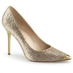 Stiletto Pumps CLASSIQUE-20 - Gold Glitzer | Klassische Stiletto Pumps in spitzer Form aus glitzerndem Lamé Stoff mit Metallic Effekt der Marke Pleaser.  Metallic High Heels für den besonderen Look. #schuhe #damen #shoes Pink Pumps, Stiletto Pumps, Pointed Toe Pumps, Lame Fabric, Gold Fabric, T Strap Pumps, Crazy Heels, Couture Shoes