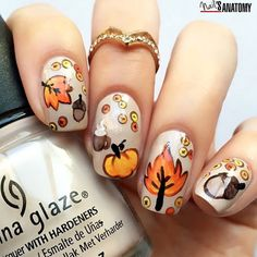 Fall nail art. So cute, I love it.
