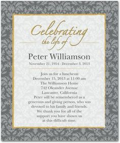 Memorial Celebration of Life burgundy invitatation Card | Celebrations