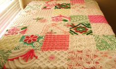 Vintage Chenille Patchwork Baby Quilt or GrownUp by surelychenille, $124.50