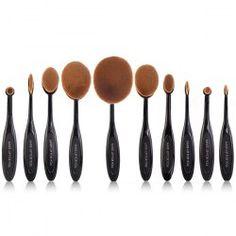 Professional Multipurpose 10 Pcs ToothBrush Shape Fine Fiber Makeup Brushes Set with Gift Box (BLACK) | Sammydress.com Mobile