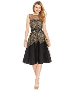 Tahari by ASL Metallic Embroidered Floral Dress