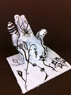 Project ART-A-DAY: Lesson: GIVE ME A HAND!! Henna Inspired Cast Hands