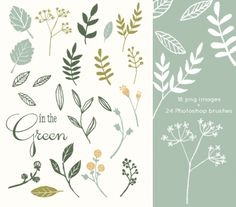 CLIP ART and Photoshop Brushes - In The Green - for commercial and personal use $8