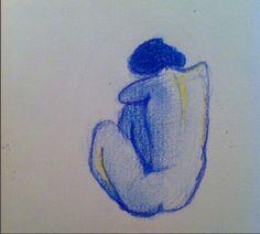 Nu bleu inspiration Picasso (c) AP/2015 crayons de couleur
