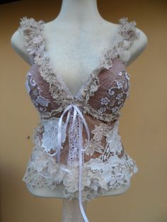 vintage inspired bustier top with shabby crochet and by wildskin