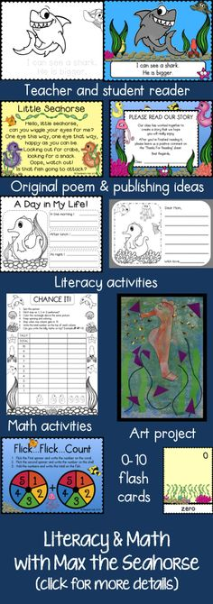 Lots of fun activities with a seahorse theme. Focused on KG / Gr 1. $ #seahorse #kindergartenliteracy