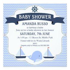 Square Nautical Chevron Baby Shower Invitation