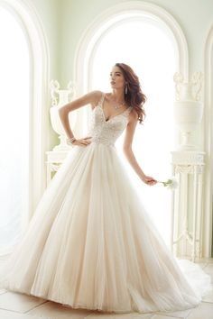 Sophia Tolli Spring 2017 sleeveless V-neck wedding dress with beaded bodice and shimmering ball gown