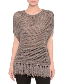 Short-Sleeve+Metallic-Mesh+Popover,+Arctic+Silver+Blue+by+Valentino+at+Neiman+Marcus.
