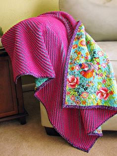 Floral Cut Chenille Blanket by Sarah.