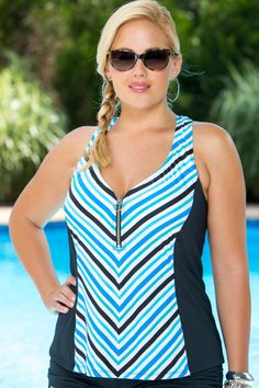 The Beach House Separates Top Side Racer Back Tankini Top #90780 is a sporty addition to our 2015 swimwear line.  This plus size swim top offers more coverage than your traditional swimwear and was m