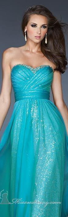 La Femme  long formal dress turquoise