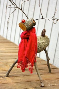 THIS IS SO CUTE! A reindeer made from tree branches! Check out this full tutorial on how to make a Christmas reindeer by Designer Trapped in a Lawyer's Body! Diy Christmas Reindeer, Christmas Crafts To Make, Christmas Decorations For The Home, Christmas Porch, Rustic Christmas, Christmas Projects, Winter Christmas, Reindeer Logs, Outdoor Reindeer