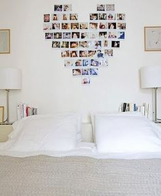Photos shaped into a heart, nice for bedroom art #mustdo