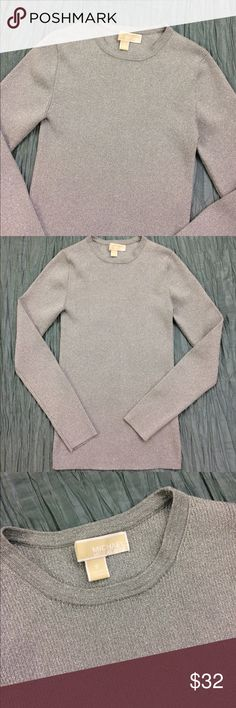 Michael Kors grey silver ribbed pullover sweater Like new condition. Grey with silver shimmer. Stretchy ribbed sweater. MICHAEL Michael Kors Sweaters Crew & Scoop Necks