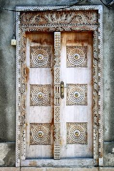 Balinese hand carved wooden door
