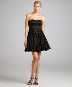 Aidan Mattox black beaded chiffon strapless sweetheart dress | BLUEFLY up to 70% off designer brands at bluefly.com