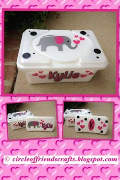Photo on Elephant Baby Wipe Containers | cricut and vinyl ideas