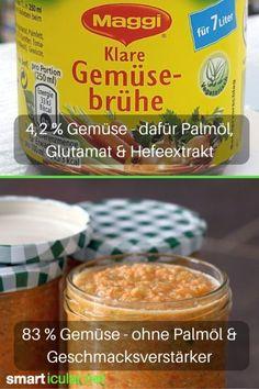 Würzpulver und Gemüsebrühe enthalten selten viel Gemüse. Dafür umso mehr Salz, Geschmacksverstärker und sogar Palmöl. Das geht auch gesünder und preiswerter