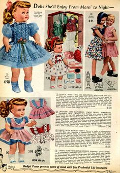 """times: 22 December 1955 """"Dolls and Apologies"""" Vintage Advertisements, Vintage Ads, 1950s Toys, Cute Cushions, Toy Catalogs, Photo Vintage, Popular Toys, Childhood Toys, Dollhouse Dolls"""