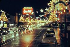 Hollywood Boulevard looking West during Christmas season, 1950.