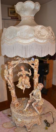 Capodimonte Continental Porcelain Figural Table Lamp Girl on A Swing Italy