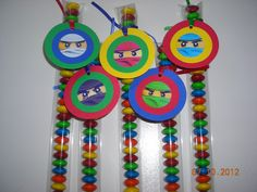 12 Lego Ninjago Candy Treat Bags Hang Tags Toppers Personalized Birthday Gifts Party Favors Building Blocks Boys Red. $12.00, via Etsy.