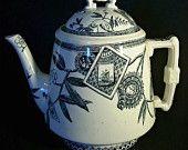 Wedgwood Black Transferware Teapot - Louise Pattern