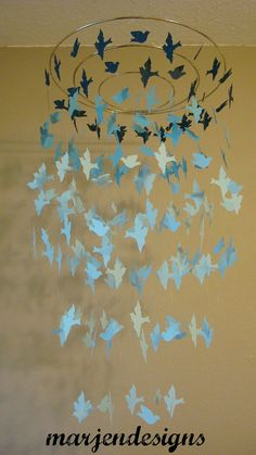 dark and light blue graduated bird mobile crib by marjendesigns, $45.00
