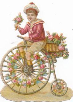 Very  Rare victorian DIE CUT 1890 s bike penny farthing bicycle AZ