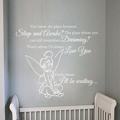 """Tinkerbell You Know That Place Between Sleep And Awake Quote Wall Decal 32""""h X 36""""w on Etsy, $45.00"""