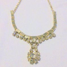Vintage Gold Tone Rhinestone Drop Necklace by BorrowedTimes
