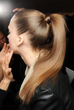 straight ponytail. Wrap a piece of hair around the hairband and it will instantly look more polished