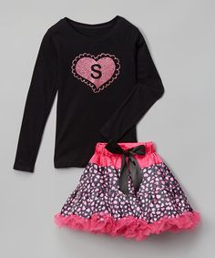 Look at this #zulilyfind! Black Initial Tee & Hot Pink Pettiskirt - Infant, Toddler & Girls by Beary Basics #zulilyfinds