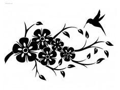 Black Flowers And Bird Tattoo Design - Birds Tattoo Designs White Bird Tattoos, Black Bird Tattoo, Flower Tattoos, Love Birds Drawing, Bird Drawings, Microsoft Paint, Silhouette Clip Art, Black Flowers, Cover Up Tattoos