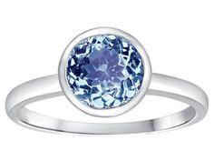Tommaso Design(tm) 7mm Round Simulated Aquamarine Engagement Solitaire Ring