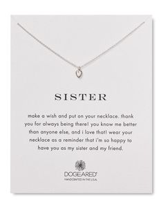 """Dogeared Sister Heart Necklace, 18"""""""
